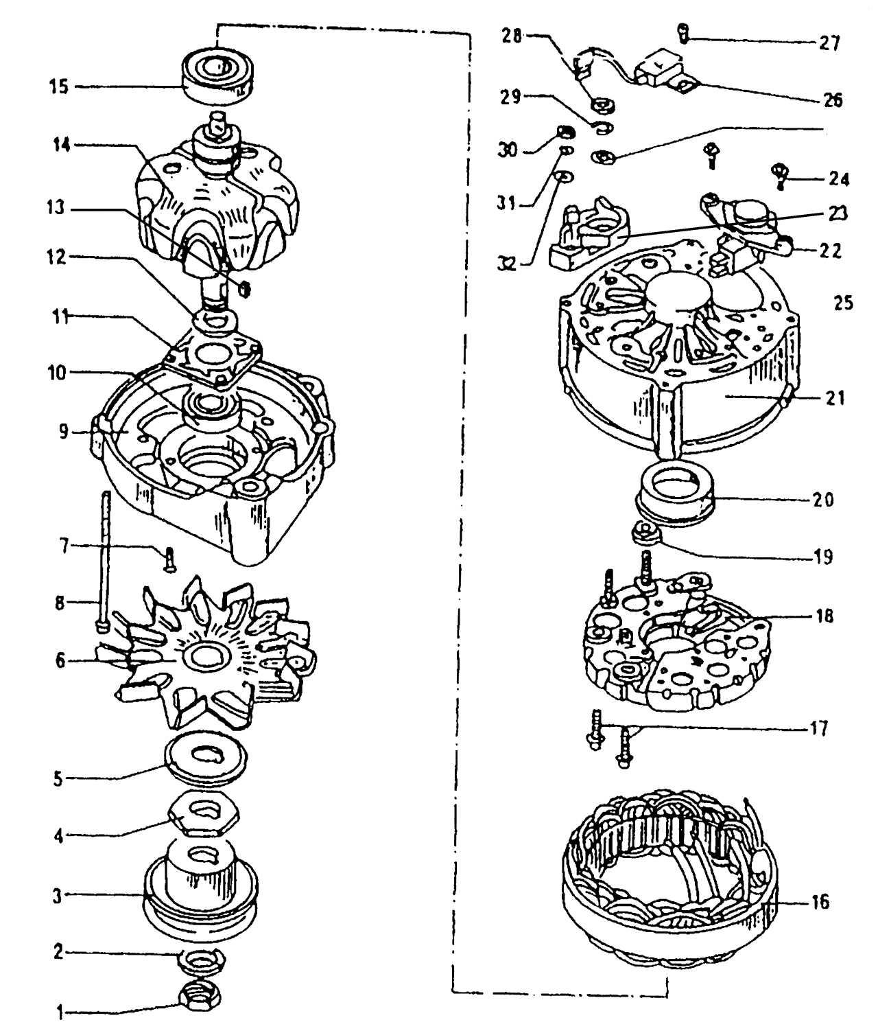 Устройство генератора переменного тока фирмы Bosch: 1 - гайка, 50 Н·м; 2 - шайба; 3 - шкив; 4 - упорная шайба; 5...